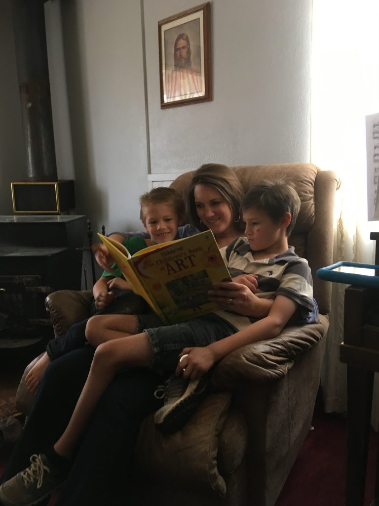 mother reading to children, afterschool
