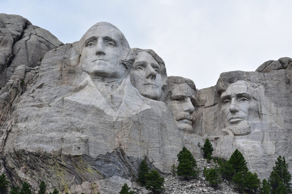 Mt Rushmore: carvings of US presidents