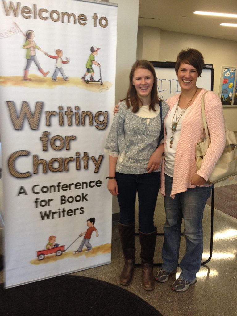 Mother and daughter at a writing conference